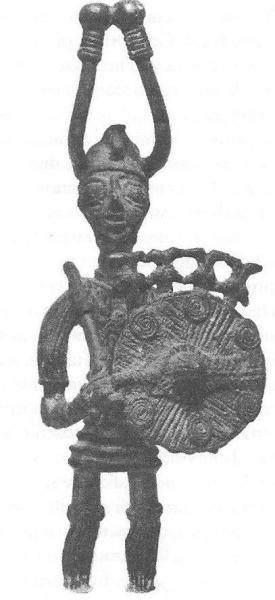 Bronzetto (da Lilliu 1966, Sculture della Sardegna nuragica)