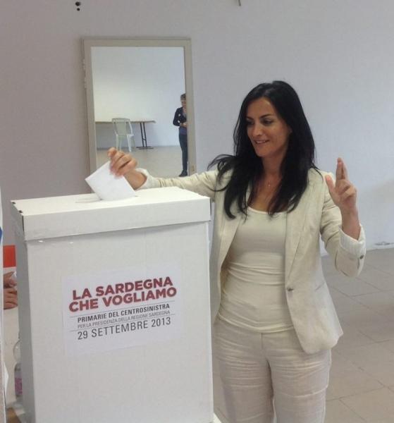 Francesca Barracciu il giorno delle primarie