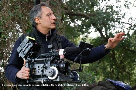 Giovanni Columbu durante le riprese del film Su Re (foto G. Murgia, Olzai 2011)