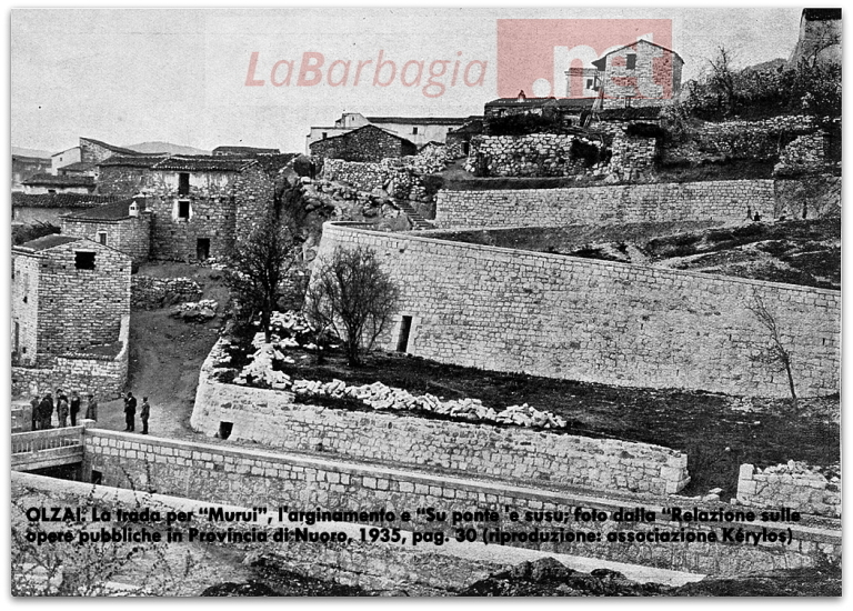 "OLZAI. La strada per ""Murui"", l'arginamento nel rio Bìsine e ""Su ponte Susu"", 1935 c. (rip. as. Kérylos)"