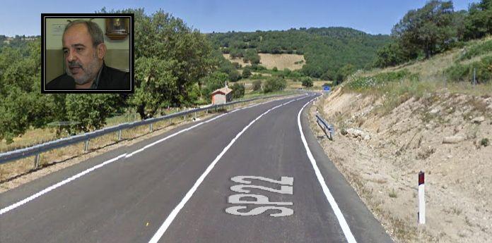 La strada e il sindaco di Ollolai Marco Columbu (immagine tratta da google maps)