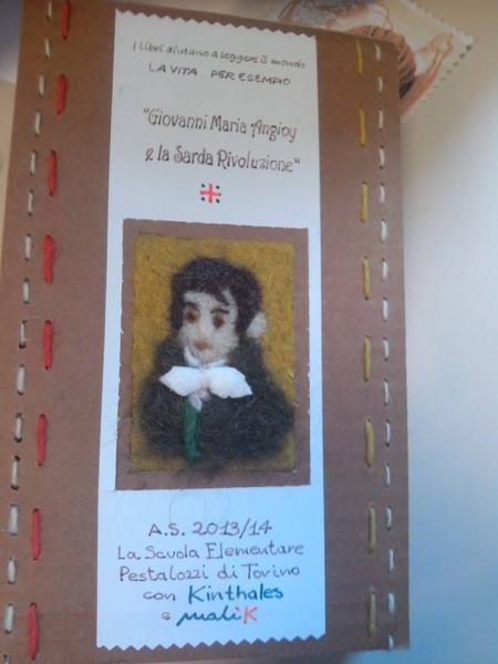Giovanni Maria Angioy nella copertina del libro realizzato con lana di pecora