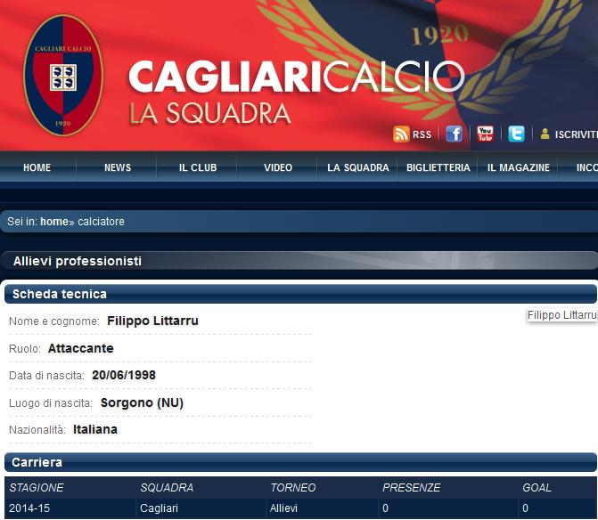 La scheda di Filippo Littarru nel sito ufficiale della Cagliari calcio