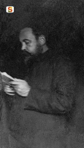 Il poeta Sebastiano Satta in una foto del grande pittore Antonio Ballero (Sardegna Digital Library)