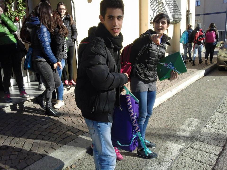 Francesco stamattina al rientro a scuola (immagine gentilmente concessa da Pasquale Gregu)
