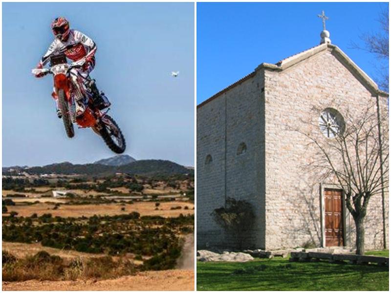 La Chiesa di Nostra Signora d'Itria e un'immagine del Sardegna Rally Race