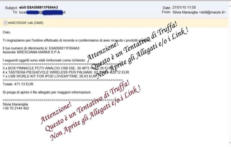 "lo  screen shot di una mail contenente  il  ""ransomware"